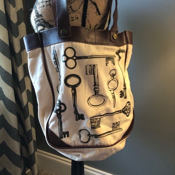 Fossil Handbags - Fossil Leather and Canvas Key 🔑 Tote Bag